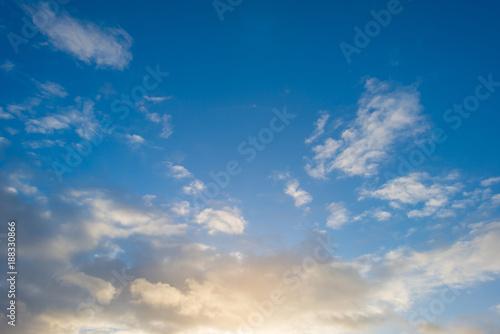Foto Murales Clouds in a blue sky in winter