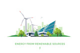 Isolated vector illustration of clean electric energy from renewable sources sun and wind. Power plant station buildings with solar panels and wind turbines on city skyline urban landscape background. - 188332458