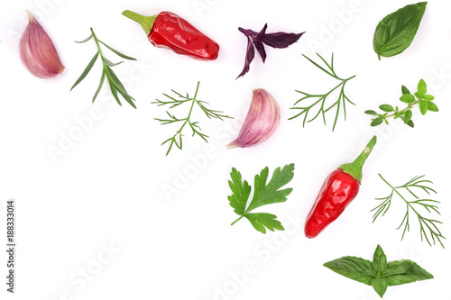 Fresh spices and herbs isolated on white background. Dill parsley basil thyme chili peppercorns garlic. Top view