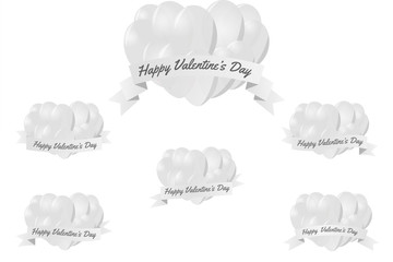 Sets of white with white heart balloon with white ribbon