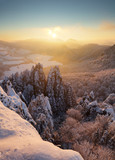 Slovakia mountain, Winter landscape at sunset, Sulovske skaly