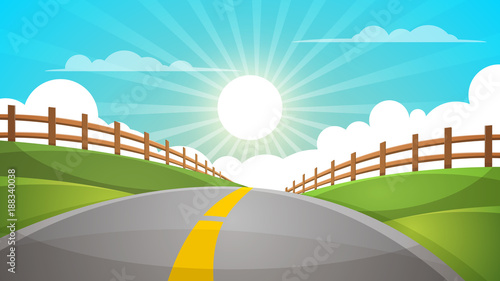 Fotobehang Turkoois Cartoon hill landscape. Road, travel illustration, fence Vector eps 10