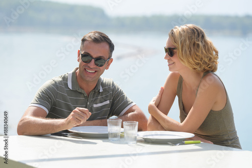 couple having a meal outdoor