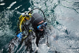 Cheerful diver in water - 188342210