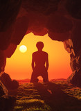 Boy praying in the cave.3d render - 188346482