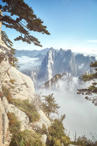 Scenic view from the Mount Hua, retro toned picture, China.