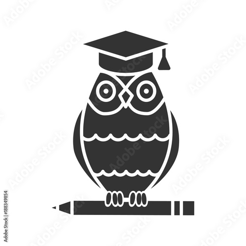 Owl in graduation cap on pencil glyph icon