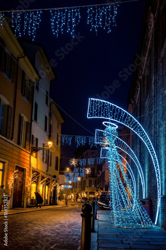 Night street decorated with Christmas angels in Parma, Emilia-Romagna, Italy - 188352821