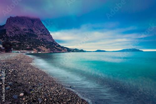 Fotobehang Blauwe jeans Empty sea coast. Scenic seascape nature