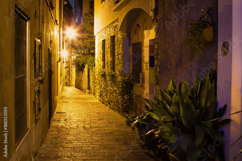 Foto op Canvas Smal steegje Old night street in Sirmione, lake Garda, Italy. Italian ancient town.