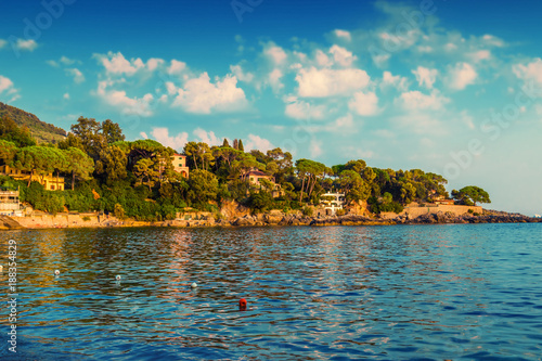 Fotobehang Liguria Sea coast in summer, Liguria, Italy. Seascape nature
