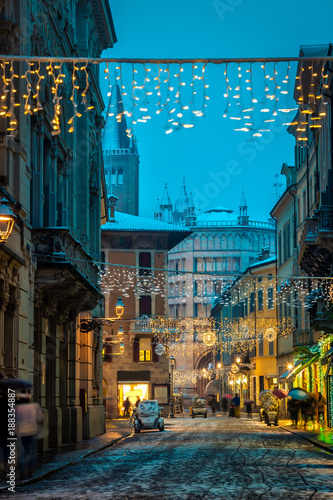 Old Italian night street in Parma, Emilia-Romagna, Italy
