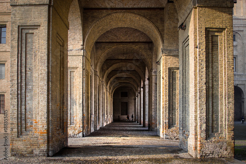 Foto Murales Arcade in medieval palace, Palazzo Della Pilotta in Parma, Italy.