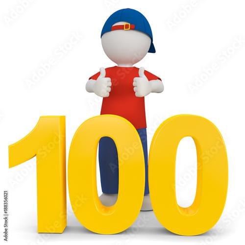 3d Männchenin der Schule, kann schon bis 100 zählen.