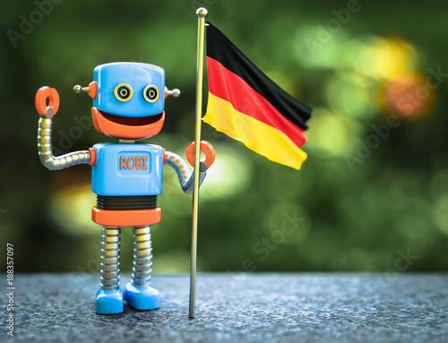 kleiner 3d Roboter Namens Robi mit Deutschland Flagge