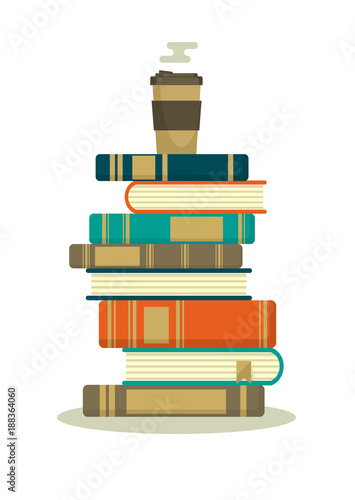 Stack of books with hot coffee. Books stack with paper coffee cup isolated on white background. Reading time vector illustration.