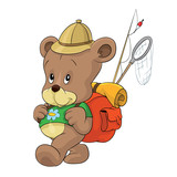 Bear going fishing backpack tour holiday trip, teddy bear, fishing rod, net, excursion, vector