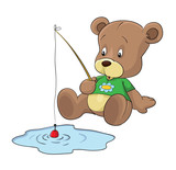 Fishing bear on the lake, teddy bear with fishing rod sitting on the sea water pool, vector