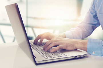modern businessman working on laptop in bright sunny office