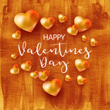 Holiday background with hearts on gold tetured paper with calligraphy greetings Happy Valentines Day. Realistic Golden hearts card. Vector illustration - 188371004