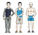 Confident handsome men standing in stylish sportswear, sportsman and fitness people. Vector diverse people illustrations set.