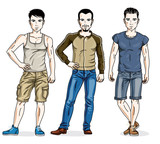 Handsome young men posing wearing casual clothes. Vector set of beautiful people illustrations. Lifestyle theme male characters.