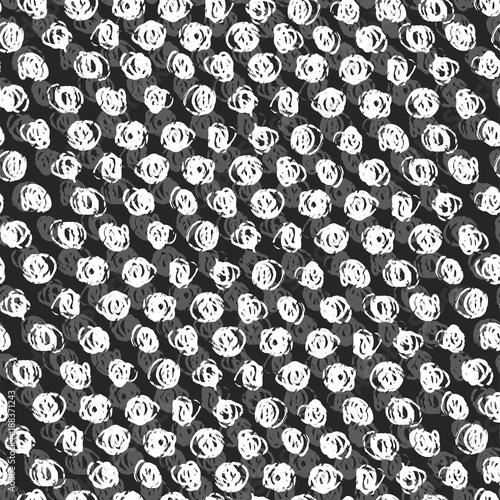 Ink hand drawn abstract circles seamless pattern