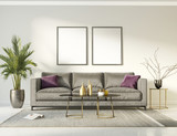 Classic elegant luxury white interior with a grey sofa - 188379220