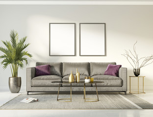 Classic elegant luxury white interior with a grey sofa