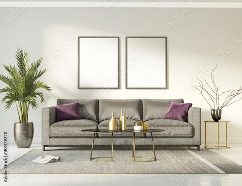 Klasyczne, eleganckie i luksusowe wnętrze z szarą sofą