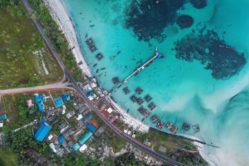 Fishing boats floating in sea from above, Bintan Island, Indonesia