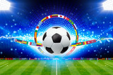 Fototapeta Sport - Soccer ball above green stadium with bright spotlights, main sporting event of year © IgorZh