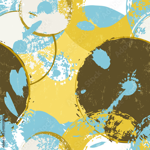 Fotobehang Abstract met Penseelstreken seamless background pattern, with abstract vinyl records, strokes and splashes