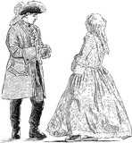Gentleman and lady in the historical costumes