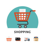 Shopping cart. Online shopping concept. Shopping icons. Flat style, vector illustration. - 188388628