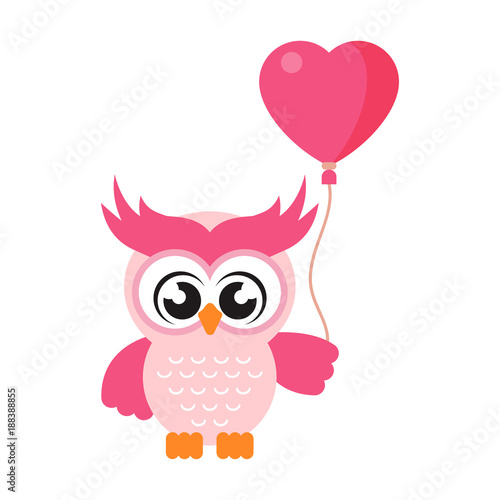 cartoon cute owl with balloons