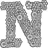 Flowers doodle in the letter N. Vector Clip Art Serie 14/26