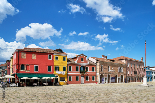 Venice Burano, Venice. Old colorful houses architecture at the square. Summer 2017, Italy