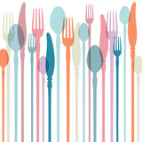 Fototapety Cutlery Background Retro Colours