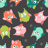 Seamless background with cartoon owl