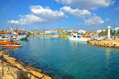 Papiers peints Chypre Fishing boats and yachts in harbor of Ayia Napa, Cyprus.