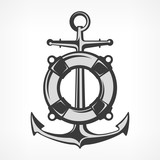 Anchor with lifebuoy, nautical symbols on white, marine. Vector