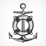 Anchor with lifebuoy, nautical symbols on white, marine. Vector