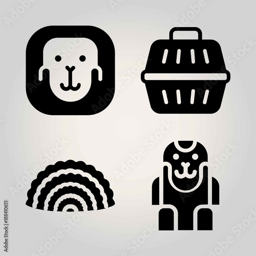 Animals vector icon set. coral, ape and animal carrier