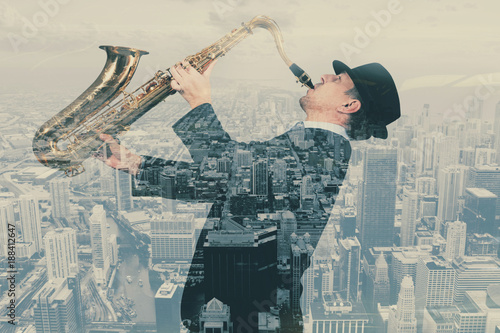 Saxophonist. Double Exposure Poster