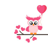 cartoon cute lovely owl on the branch with balloons