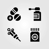Medical vector icons set. pills, spray and medicine - 188429640