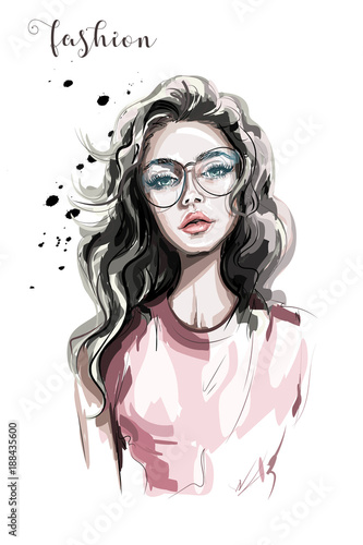 Beautiful young woman in eyeglasses. Fashion woman. Stylish girl with long hair. Sketch. - 188435600