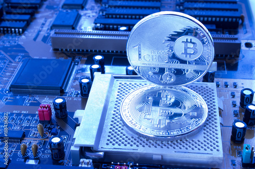 Crypto currency bitcoin, one cent in blue