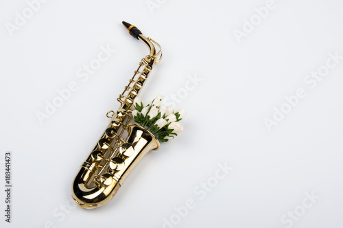 Saxophone with flowers Poster